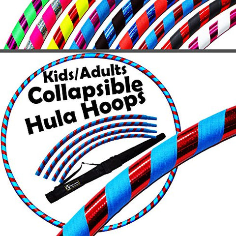 "PRO Kids Hula Hoops COLLAPSIBLE (Ultra-Grip/Glitter Deco) Hula Hoop + Carry Bag! (85cm/33.5"") Hoola Hoops For Exercise, Dance & Fitness! (600g / 21.2oz) (Red / Blue Glitter)"