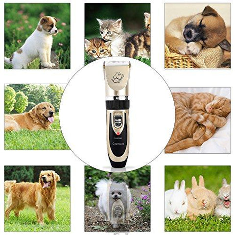 Ceenwes Dog Clippers Low Noise Pet Clippers Rechargeable Cordless Dog Trimmer Pet Grooming Tool Professional Dog Hair Trimmer with Comb Guides scissors Nail Kits for Dogs Cats and Other Animals