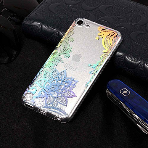 quality design 75760 6f244 Cute iPod 6 Case,Clear iPod Touch Case for Girls,iPod 5 Case,CAIYUNL Floral  Henna Flower Design Soft TPU Slim Silicone Bumper Protective Back Cover ...