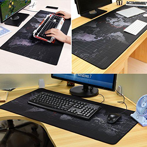 Miraculous Extended Gaming Mouse Mat Pad Xxl Large Portable Large Desk Pad World Map Mousepad Stitched Edges Non Slip Rubber Base 35 4X15 7X3Mm Black Home Remodeling Inspirations Gresiscottssportslandcom