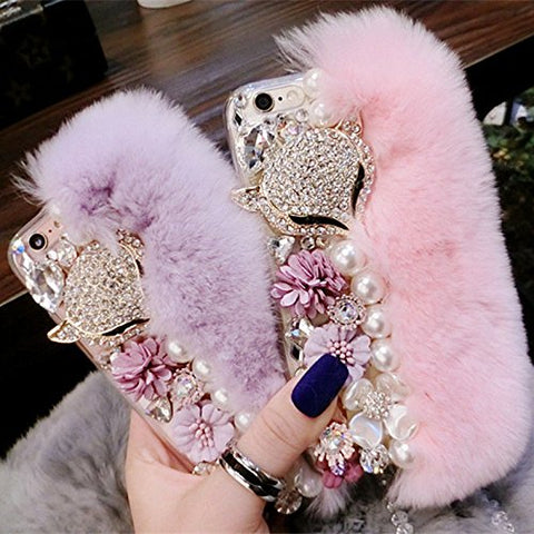 Winter Fluffy Fur Bling Diamonds Pearl jewelry Case Cover for iPhone X / 8 7 6 6S Plus Samsung Galaxy S8 S8 Plus S7 S7 Edge S6 Edge S6 Edge Plus Light purple Samsung Galaxy S6 Edge