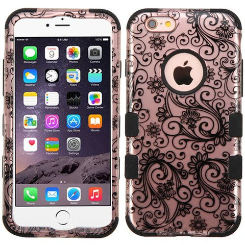 "Apple iPhone 6 Plus / 6S Plus (5.5"") Case, Kaleidio [Mybat TUFF] Impact Protective Dual Layer Hybrid Cover [Includes a Overbrawn Prying Tool & Stylux Stylus] [Rose Gold Clover Flowers]"