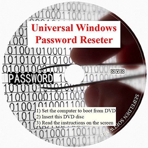 Universal Windows Password Reset DVD Disc for Windows 10, Windows 7,  Windows Vista, Home 8 1 Win 8 Pro XP 32-bit 64-bit All Password Recovery  Dell HP
