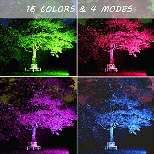 Ustellar 2 Pack 30W RGB LED Flood Lights, Outdoor Color Changing Floodlight With Remote Control, IP66 Waterproof 16 Colors 4 Modes Dimmable Wall Washer Light, Stage Lighting with US 3-Plug