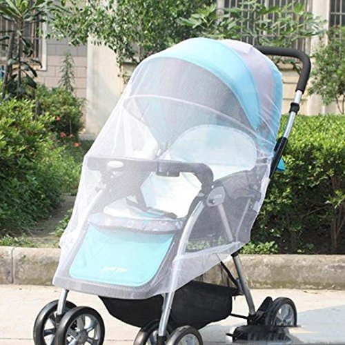 Vibola® Baby Stroller Mosquito Net, Baby Portable Folding Mosquito Cotton Net Full Insect Cover Carriage Kid Foldable Kids Netting (White)