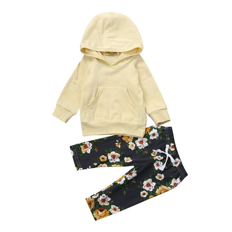 Newest Infant Baby Boy Girl Hoodie Tops+Floral Pants Outfit Clothes Set Autumn (3-6 Months)
