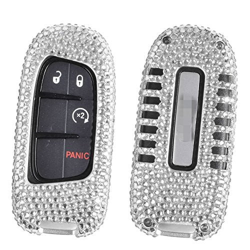 [M.JVisun] Handmade Car Key Fob Cover For Jeep Cherokee / Grand Cherokee / SRT Remote Key Engine Start Stop , Diamond Car Key Case Cover , Aircraft Aluminum + Genuine Leather + Bling Crystal - Silver