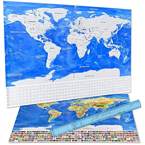 Scratch Off World Map With Us States.Scratch Off World Map Deluxe Travelers Wall Poster With Us States