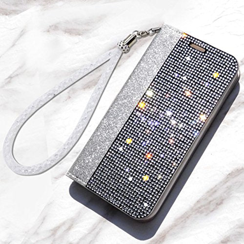 newest cbc11 b6491 iPhone 7 Plus/iPhone 8 Plus Wallet Case Wristlet Stand Shiny Glitter Bling  Sequin Sparkle Flip Wallet Luxury Case Cover For Apple (Silver, iPhone 7 ...