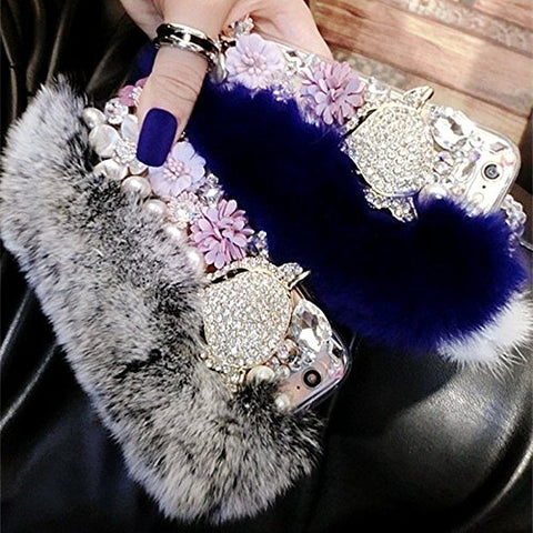 Winter Fluffy Fur Bling Diamonds Pearl jewelry Case Cover for iPhone X / 8 7 6 6S Plus Samsung Galaxy S8 S8 Plus S7 S7 Edge S6 Edge S6 Edge Plus Blue Samsung Galaxy S7