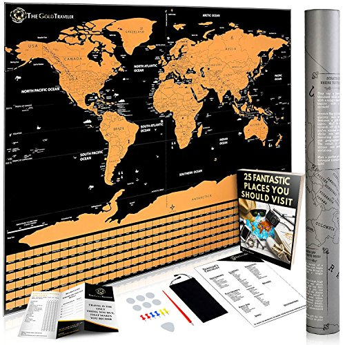 Large world map scratch off poster by the gold traveler travel large world map scratch off poster by the gold traveler travel scratch map 24 x gumiabroncs Image collections