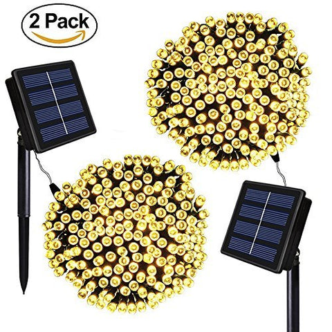 Solarmks 2 Pack Solar String Lights,8 Modes 72ft 200 LED Outdoor String Lights Waterproof Christmas Fairy Lights for Indoor Patio Gardens Homes Wedding Holiday Lawn Xmas Tree (Warm White)