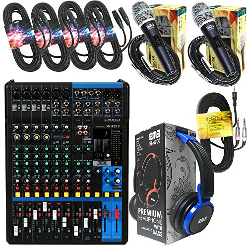 "Yamaha Package Bundle - Yamaha MG12XU 12-channel Analog Mixer + EMB EBH700 Pro Preminum Wire Headphone + 4 XLR XLarge Cables + 3.5mm to Dual 1/4"" Cable + 2 EMB Emic800 Microphones"