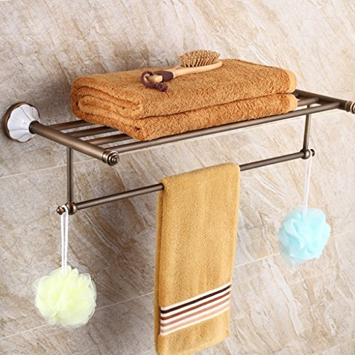 ZHAS Towel Rack Bathroom Retro Copper Hardware Pendant Shelving Towel Rack Storage Rack Accessories (Size : 64CM)