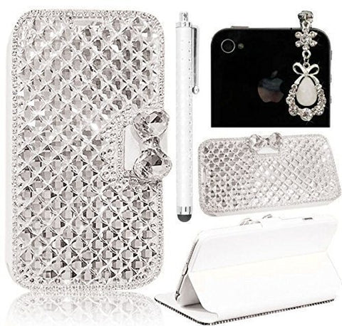 "Sunroyal iphone 6s Plus/6 Plus 5.5"" 3D Rhinestone Bling Crystal Magnetic Bow Synthetic Leather Wallet Case(Silk Grain,Square Diamond Edge)+White Gemstone Jewelry Dustproof Pendant+Metal Touch Pen"