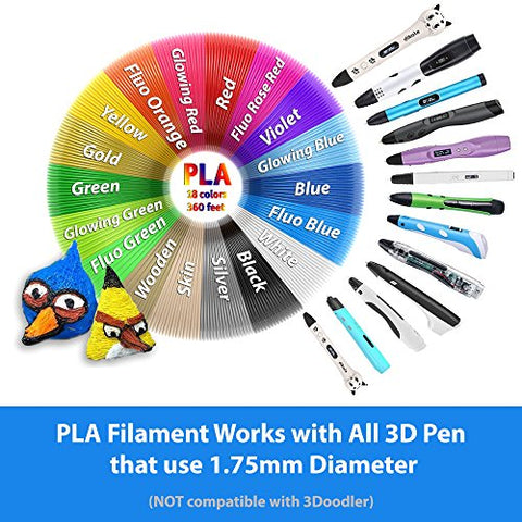 Dikale PLA 3D Pen Filament Refills (18 Colors, 20 Feet Each) with 100 Stencils ebook Compatible with 1.75mm 3D Pens for Kids and Printers Total 360 Feet