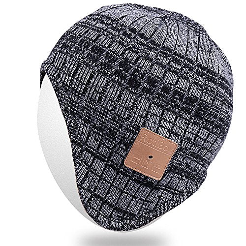 Rotibox Men Women Bluetooth Music Beanie Hat Cap Ear Warmers w/ Stereo Speaker Headphones Mic Hands Free and Rechargeable Battery for Cell Phones, iPhone, iPad, Tablets, Android Cellphone - Black/Gray