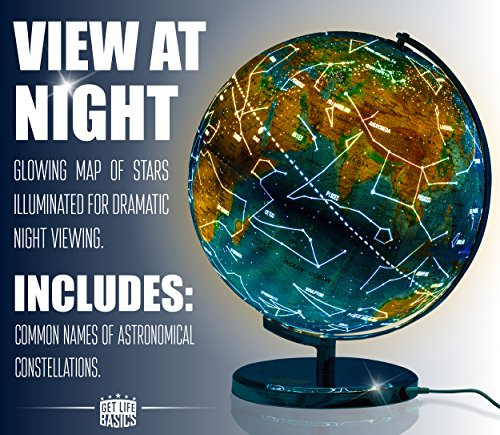 13 inch illuminated world globe compass by getlifebasics see the 13 inch illuminated world globe compass by getlifebasics see the earth and the stars gumiabroncs Image collections