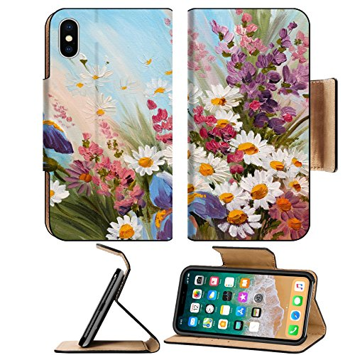 Msd Premium Apple Iphone X Flip Pu Leather Wallet Case Oil Painting Abstract Illustration Of Flowers Daisies Greens Wallpaper Decoration Image