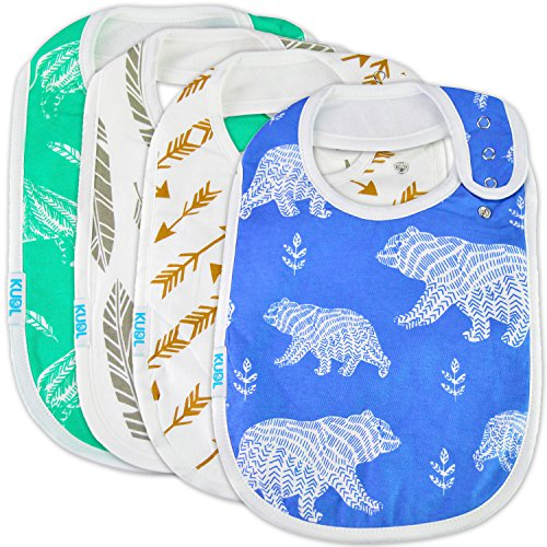Premium Cute Baby Toddler Bibs Burp Burpy Cloths 4 Pack Gift Set Soft Absorbent Extra LARGE Feeding Reflux Drool Teething Bibs,Triple Adjustable Snap Buttons, Funny Boys & Girls …