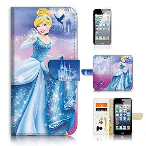 ( For iPhone 8 Plus / iPhone 7 Plus ) Flip Wallet Case Cover & Screen Protector Bundle - A21059 Princess Cinderella