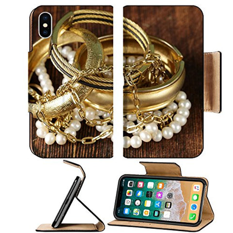 Liili Premium Apple iPhone X Flip Pu Leather Wallet Case gold and pearl jewelry on vintage wooden background 27941360