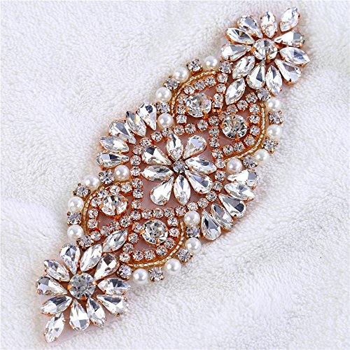 ... Garter Handcrafted Piece Sparkle Beaded Decoration Sew on Rose Gold.  Iron on Pearls Rhinestone Applique Crystal Patches Embellishment for  Wedding Dress ... c9dcfdc957cb