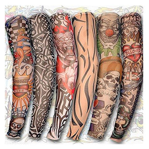 Motorcycle Face Mask - Tattoo Arm Leg Sleeves Sun Protection Cycling Party - Set Custom Sunscreen Temporary Worker Tribal Basketball- Protector Colors Tatjacket - Skull Work Force - 1PCs
