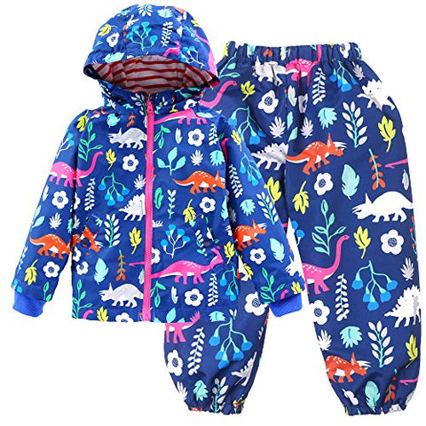PongYou Waterproof Hooded Raincoat Lightweight Outdoors Rain Suits Jacket Coat Rain Wear Pants for Boy and Girl Dark Blue