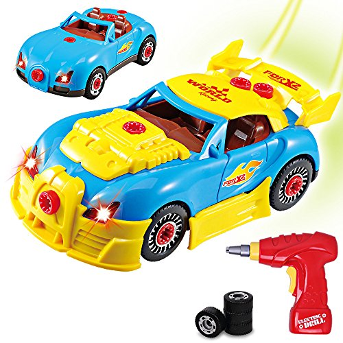 Build Your Own Car Kit >> Take Apart Racing Cars Toys For Kids Rolytoy Build Your Own Car Vehicle With Power Drill Realistic Sounds Lights 30 Piece Constructions Kit