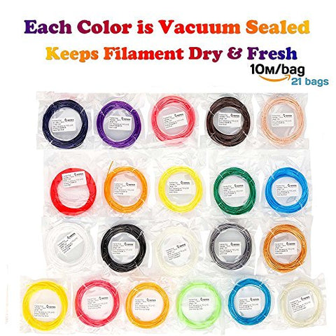 3D Pen Filament Refills, Kee Pang 1.75mm PLA Filament,including 6 Glow in the Dark 689ft 1.75mm PLA Filament Pack for 3D Pens(Pack of 21 Colors /32.8ft each color), Suitable for 3D Pen, 3D Printer