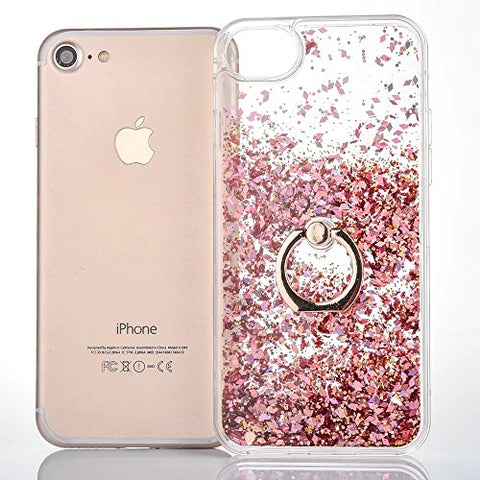 "iPhone 8 Plus 5.5"" Case, Dynamic Liquid Floating Diamond Glitter Quicksand Sparkle Hard Finger Ring Moving Stand Holder Cover with Soft TPU Frame for iPhone 8 Plus 5.5 inch"