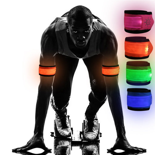[4-Pack] Emmabin LED Slap Armband Lights Glow Band for Running, Replaceable Battery - 4 Modes (Always bright/Quick Flashing/Slow Flashing/Off), 35cm Glow Bracelets with 4-Pcs Package (Mode: EB-AB4X35)