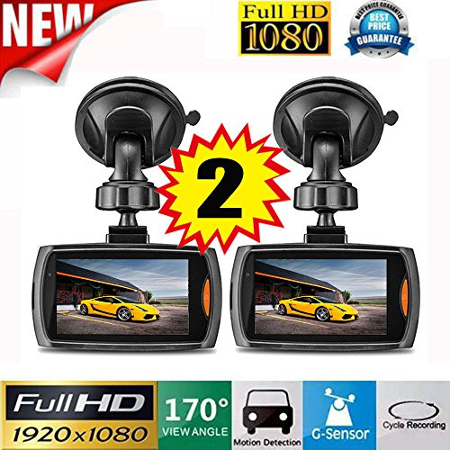 Vehicle Camera, Hometom 2x Car 1080P 2.4 Full HD DVR Vehicle Camera Dash Cam Video G-sensor Night Vision (Black)