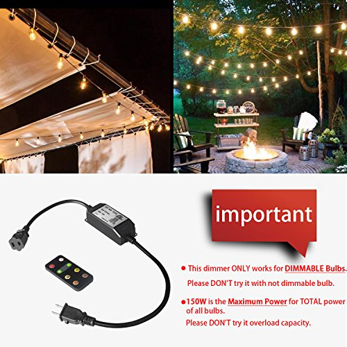 SUNTHIN Max 150W Power Patio Lights Dimmer Remote, 100Ft Wireless Control  Distance Dimming Kit for Outdoor Light String, Smart Plug-in Dimmer Switch