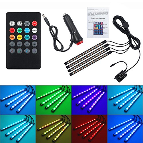 YaptheS Car LED Strip Lights 4pcs 48 LED Multicolor with Sound Active Function and Waterproof Wireless Remote Control Car Interior Lighting Kit