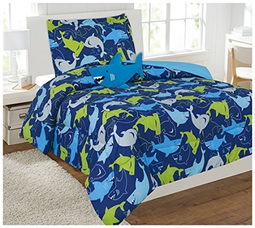 WPM 6 Piece Kids Comforter set Blue Sea Shark Print Twin Size Bedding Shark Toy Included