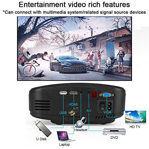 Video Projector, GOXMGO Portable Movie Projector With HDMI USB Headphone  Jack TV Mini Projector Good For Home Theater Entertainment Game XBOX ONE