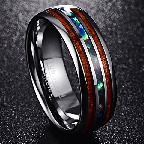 Vakki 8mm Wood & Shell Domed Wedding Ring for Men Tungsten Carbide Bands Polished Finish Comfort Fit Size 12.5