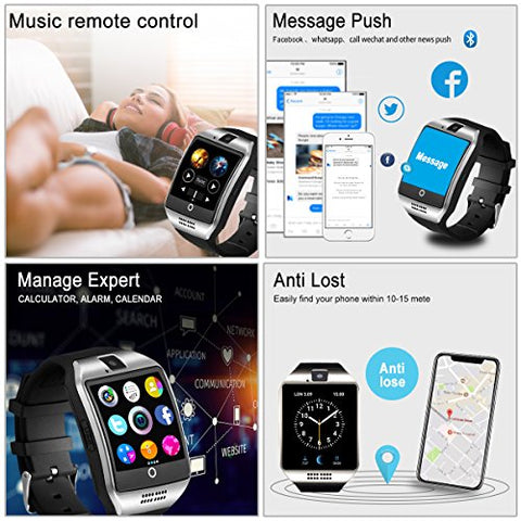 Smart Watch,Bluetooth Smartwatch Touch Screen Wrist Watch with Camera/SIM Waterproof Phone Smart Watch Sports Fitness Tracker for Android iPhone IOS Samsung Huawei Sony for Kids Women Men (Q18-Silver)