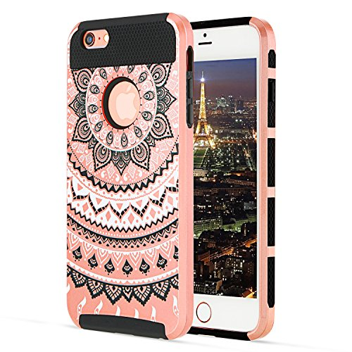 iPhone 6s Plus Case YCAun Slim Fit Hybrid Dual Layer Scratch Resistant Hard PC Shell Inner Shock-Absorption Soft TPU Bumper Armor Defender 6 Plus Case Protective Cover Mandala Floral[Rose Gold/Black]