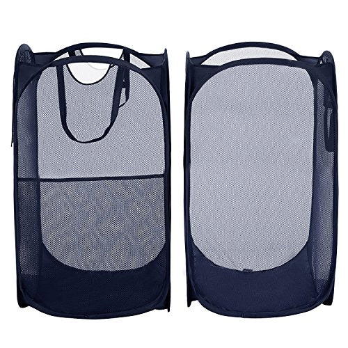 Yazer Pack of 2 Foldable Pop-Up Laundry Hamper with Side Pocket, Durable Mesh Hamper Clothes Laundry Basket Storage Bag with Reinforced Carry Handles for Dirty Clothes