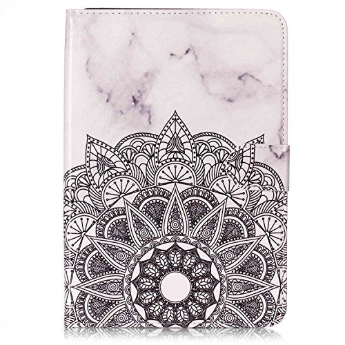 iPad Mini 4 Tablet Cases Letszhu Flip Ultra Slim Marble Design PU Leather Stand Wallet Cover Case for Apple iPad Mini 4(7.9inch) (Marble White Flower Triangle)