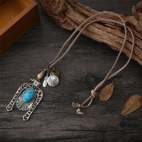 Women Feather Pendant Long Chain Necklace Sweater Statement Vintage Jewelry hot 3#