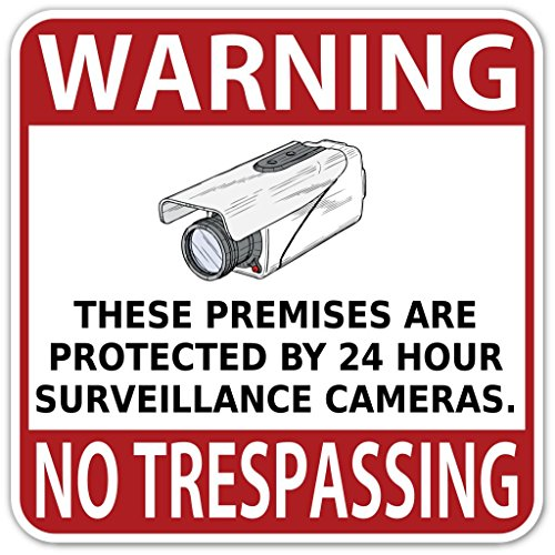 "(Pack of 5 Stickers) Warning Sign No Trespassing Protected by 24 Hour Surveillance Cameras High Quality Vinyl Decal Bumper Sticker 6"" X 6"""