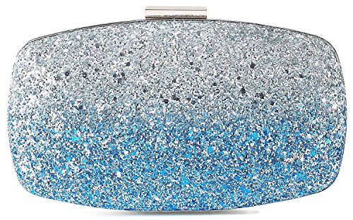 Yuenjoy Womens Evening Bags Wedding Clutch Purse with Gradient Colors Glitter (Blue / Silver)