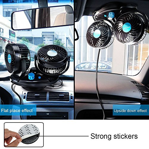 Anpress 12V Car Auto Cooling Fan Oscillating Car Air Fan with Dual Head 2  Adjustable Speeds Quiet Strong Dashboard Cooling Fans DC Electric Car Fans