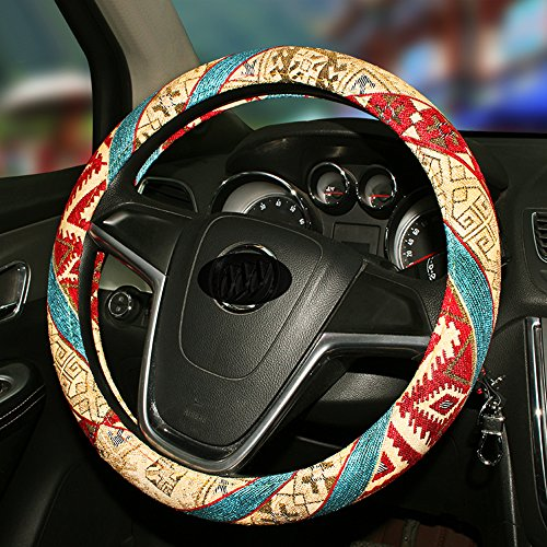 【QIMEI】Colorful Ethnic Style Steering Wheel Cover 38cm/15inch With Coarse Flax Natural Cloth Material (B)