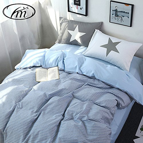 VM VOUGEMARKET Luxury Blue Stripe Duvet Cover Queen Size,3 pieces Cotton Comforter Cover Set for Men,Stripe Printed Bedding Collections Set-Queen,Stripe