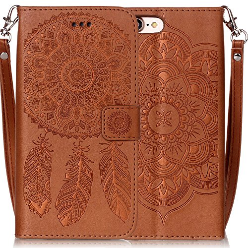 iPhone 7 Wallet Case,Silverback(TM) Durable n Slim Lightweight with Henna Mandala & Dream Catcher Floral Pattern Ultra-Strong Magnetic Closure,Faux Leather For Apple iPhone 7 (4.7 in) -Brown